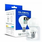 Лампа светодиодная GLOBAL G45 6W 4100K 220V E14