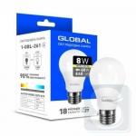 Лампа светодиодная GLOBAL A60 8W 3000K 220V E27