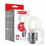 LED лампа MAXUS (филамент), G45, 4W, яргкий свет,E27 (1-LED-546)