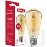 LED лампа Maxus ST64 FM 7W 2700K 220V E27 Golden