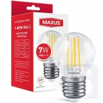 LED лампа Maxus G45 FM 7W 4100K 220V E27 Clear