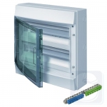 Шкаф электрический на 36 ( 18х2 )модулей IP65 Mistral прозрачные двер + клемма (1SLM006501A1205)