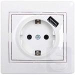 Розетка с заземлением + USB LEZARD Mira белый (701-0202-181)