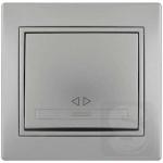 Выключатель перекрестный одноклавишный LEZARD Mira серый металлик (701-1010-107)