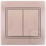 Выключатель двухклавишный LEZARD Mira жемчужно-белый (701-3030-101)