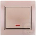 Выключатель одноклавишный с подсветкой LEZARD Mira жемчужно-белый (701-3030-111)