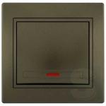 Выключатель одноклавишный с подсветкой LEZARD Mira светло-коричневый (701-3131-111)
