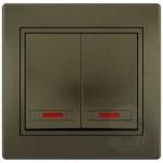 Выключатель двухклавишный с подсветкой LEZARD Mira светло-коричневый (701-3131-112)
