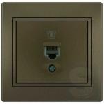 Розетка телефонная  LEZARD Mira светло-коричневый (701-3131-137)
