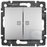 Выключатель проходной 2-клавишный с подсветкой Legrand Valena 770212 алюминий