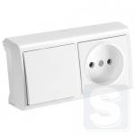 Горизонтальный блок Выключатель + Розетка VERA (белый) (90681186)