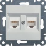 Розетка компьютерная двойная Hager Lumina2 CAT 5e X2 белая (WL2320+WL9002*2)