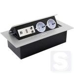 Врезной поворотный розеточный блок на 2 розетки+USB+Ethernet+Audio Schuco GTV алюминий (AE-PB02GS-53)