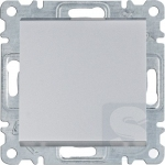 Выключатель одноклавишный, серебристый, Hager Lumina(WL0012)
