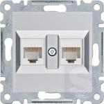 Розетка компьютерная RJ45 двойная, серебристый, Hager Lumina (WL2322-WL9002*2)