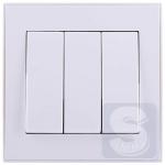 Выключатель тройной Lezard  Rain Белый (703-0288-109) (Рамка продается отдельно!)