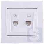 Розетка компьютерная +телефон (RJ45+RJ11) Lezard  Rain Белый (703-0288-143) (Рамка продается отдельно!)